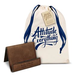 Attitude is Everything Vegan Leather Phone Stand Gift Set