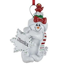 Snowman Girl with Snowflake Personalized Christmas Ornament