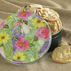 One Dozen Gourmet Cookies in a Flower Garden Gift Tin