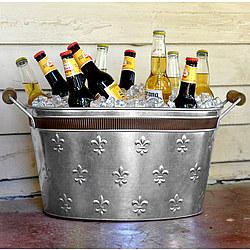 Fleur De Lis Tin Beverage Tub with Bronze Banding