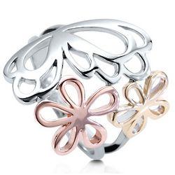 3-Tone Sterling Silver Open Butterfly Flower Ring