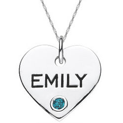 Sterling Silver Personalized Birthstone Heart Pendant