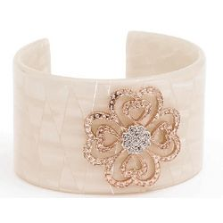 Ivory Cuff Bangle with Diamond Flower