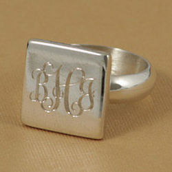 Personalized Square Sterling Silver Ring