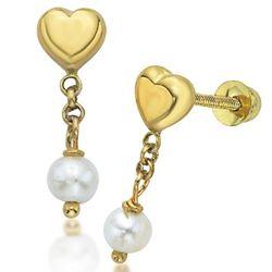 14k Gold Princess Heart Disney Earrings with Pearl Dangles