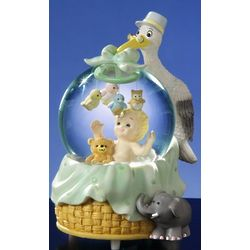 Stork with Baby Musical Water Globe