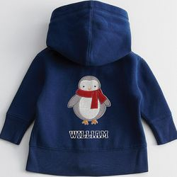 Baby Hoodie with Penguin Patch