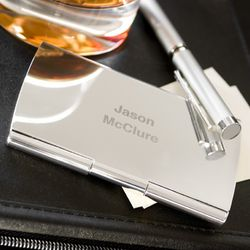 Silver Plated Personalized Smooth Business Card Case