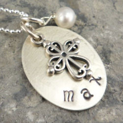 Filigree Cross Personalized Hand Stamped Necklace