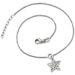 Hanging Sterling Silver Star Anklet