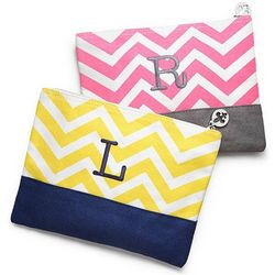 Personalized Chevron Canvas Cosmetic Bag