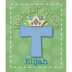 God's Lil' Prince Personalized Wall Canvas