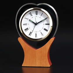 Glass Heart Alarm Clock on Wooden Base