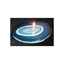 Agate Gemstone Rock Candle in Blue