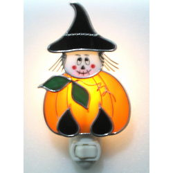 Stained Glass Pumpkin Witch Night Light
