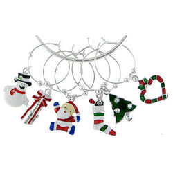 Holiday Theme Wine Charm Set
