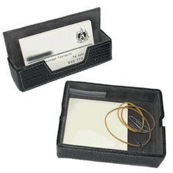 Perry Ellis Leather Business Card Holder and Desk Valet