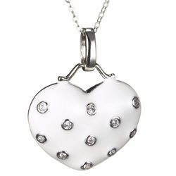 Cubic Zirconia and White Enamel Heart Necklace in Sterling Silver