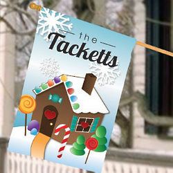 Personalized Gingerbread House Flag