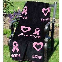 Love and Hope Pink Ribbon Throw