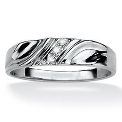 Men's Diamond Accent Wedding Band in Platinum Over Sterling