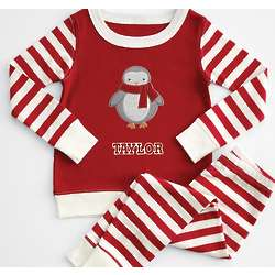 Kid's Striped Pajamas with Penguin Patch
