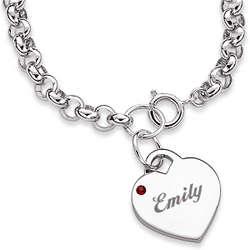 Engraved Birthstone Heart Charm Bracelet