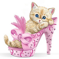 Purr-ing For Hope Breast Cancer Awareness Figurine