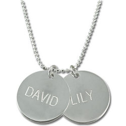 2 Silver Discs Personalized Pendant Name Necklace