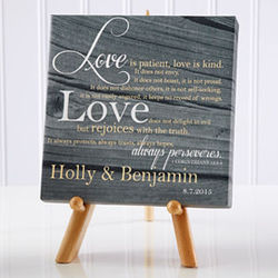 Love is Patient Personalized Desktop Canvas Print
