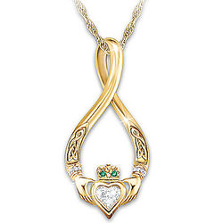 Infinity Claddagh Sterling Pendant with Diamond and Emeralds