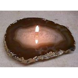 Agate Gemstone Rock Candle in Natural Brown
