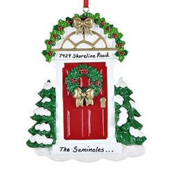 Red Door with Wreath Personalized Christmas Ornament