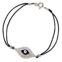 Cubic Zirconia and Enamel Evil Eye Bracelet