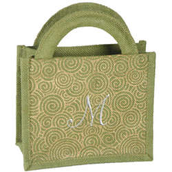 Personalized Mini Swirl Gourmet Jute Bag
