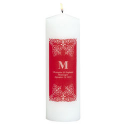 Personalized Red Monogram Pillar Candle