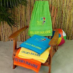 Personalized Paradise It's 5 O'Clock Beach Towel