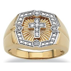 Men's Diamond Cross Gold Ring