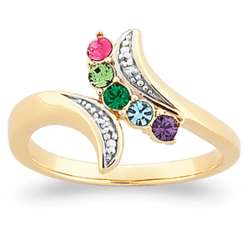 Mother's Gold Birthstone Ring with Diamond Accent