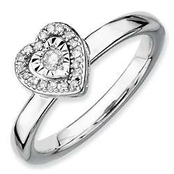 Stackable Sterling Silver Heart Diamond Ring