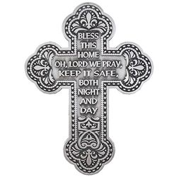 Bless This Home, oh, Lord We Pray Pewter Cross