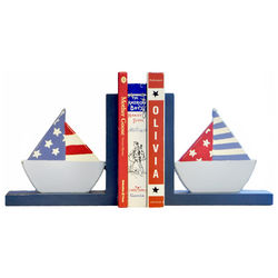 Handpainted Sailboat Bookends