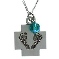 Cross, Baby Feet and December Birthstone Necklace