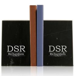Monogram Marble Bookends