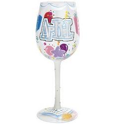 Happy April Birthday Wine Glass