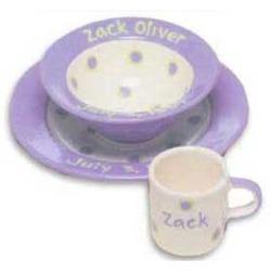 Personalized Baby Dot Cornflower Blue Dishware Set