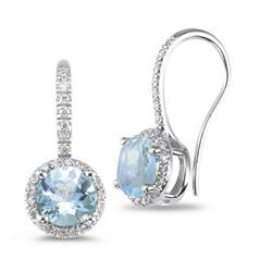 Diamond and Aquamarine Earrings in 14K White Gold