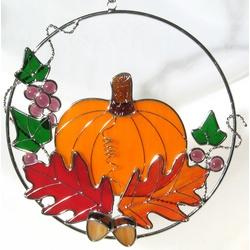 Stained Glass Pumpkin Ring Suncatcher