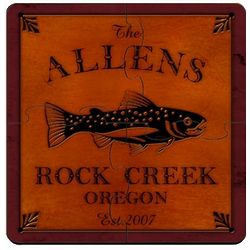 Personalized Trout Cabin Puzzle Coaster