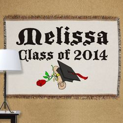 Personalized Diploma Rose Class Of Tapestry Throw Blanket